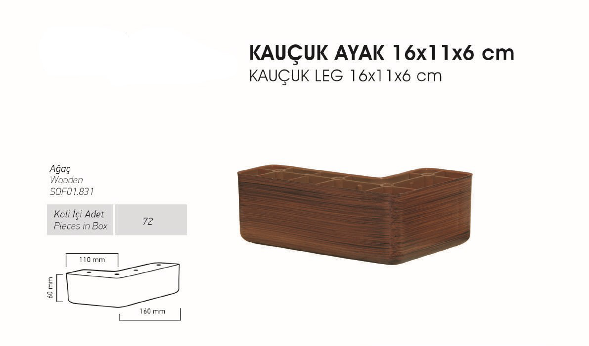 Kauçuk Ayak 14x11x6 cm