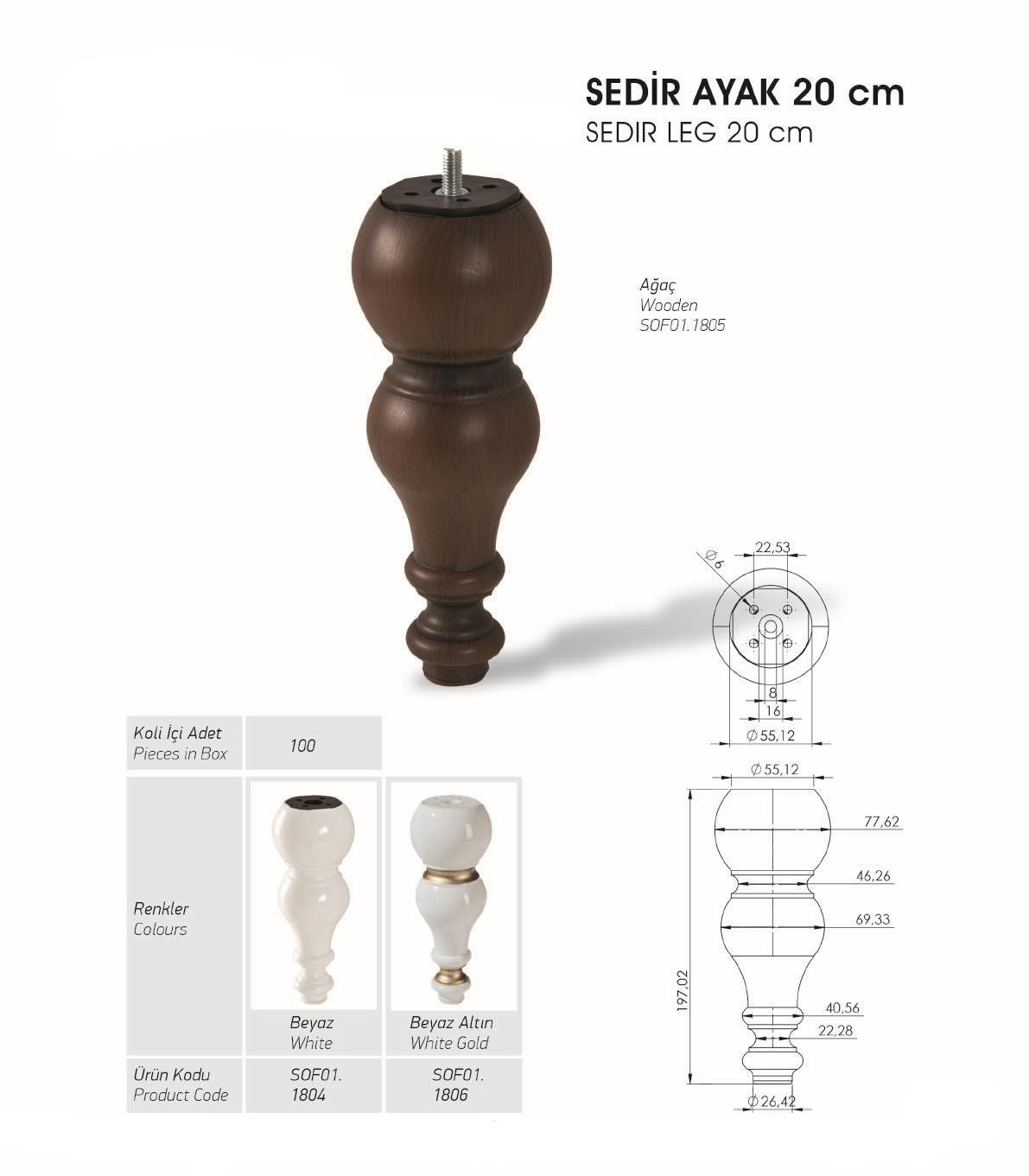 Sedir Ayak 20 cm